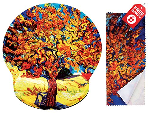Van Gogh Mulberry Tree Ergonomic Design Mouse Pad with Wrist Rest Hand Support. Round Large Mousing Area. Matching Microfiber Cleaning Cloth for Glasses & Screens. Great for Gaming & Work
