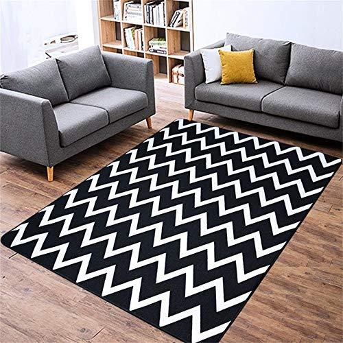 Woonkamertapijt, minimalistisch, modern, zwart, gestreept, wit, woonkamer, sofa, salontafel, nachtkastje, tapijt, rechthoekig 140*200cm