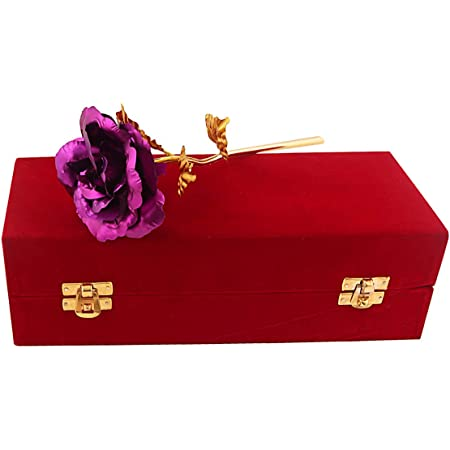 MSA JEWELS 24ct Gold Plated Rose Artificial Flower with Red Velvet Box & Certificate for Valentine, Birthday Gift & Home Decor (30 x 10 x 8 cm) (Purple)
