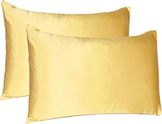 Oussum Soft and Comfortable Silky Satin Silk Pillow Cover for Hair and Skin Home Decor (Banana Cream, Regular Size, 18X27 ...