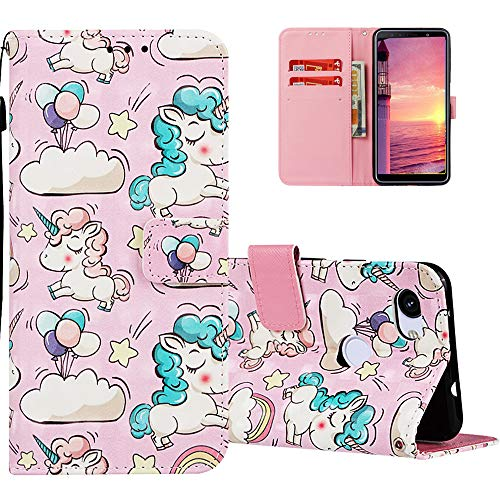 HMTECH For Google Pixel 3A Case Google Pixel 3A Phone Cover 3D Cute Clouds Unicorn PU Leather Flip Notebook Wallet Case Magnetic Stand Holder Slot Bumper Case for Google Pixel 3A,3D Many Unicorn
