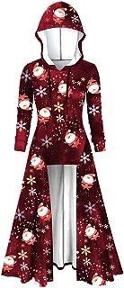 Christmas Print Hooded Women Plus Size Vintage Cloak High Low Dress Blouse Tops