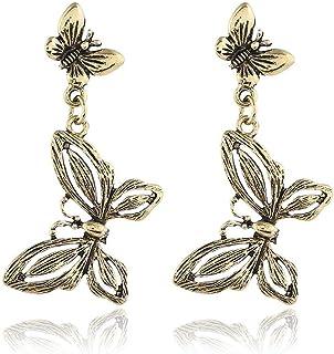 OETY Fashion Jewelry Metal Butterfly Earrings Drop Dangle Earrings for Women Jewelry for Girls Vintage Earrings