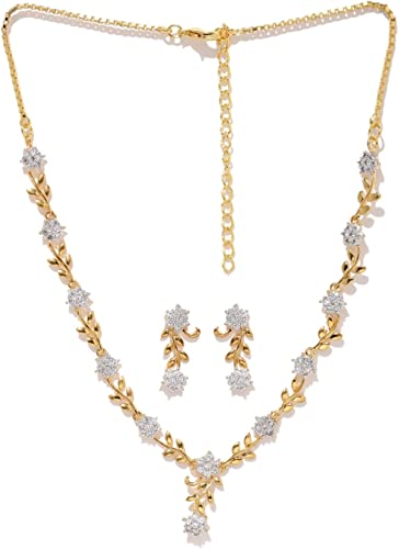 Zaveri Pearls Sparkling CZ Diamond with Leafy Design Necklace Set For Women - ZPFK5425