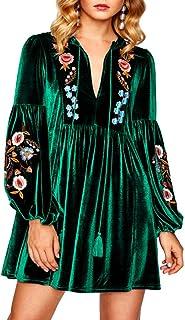 Aox Vestido corto de terciopelo para mujer, estilo vintage, manga larga, con bordado floral, talla grande Verde verde 52