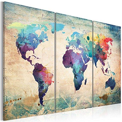 murando - Weltkarte Pinnwand & Vlies Leinwandbild 135x90 cm - 3 Teilig - Kunstdruck modern Wandbilder XXL Wanddekoration Design Wand Bild - Kontinent Landkarte Karte Reise k-B-0048-v-e