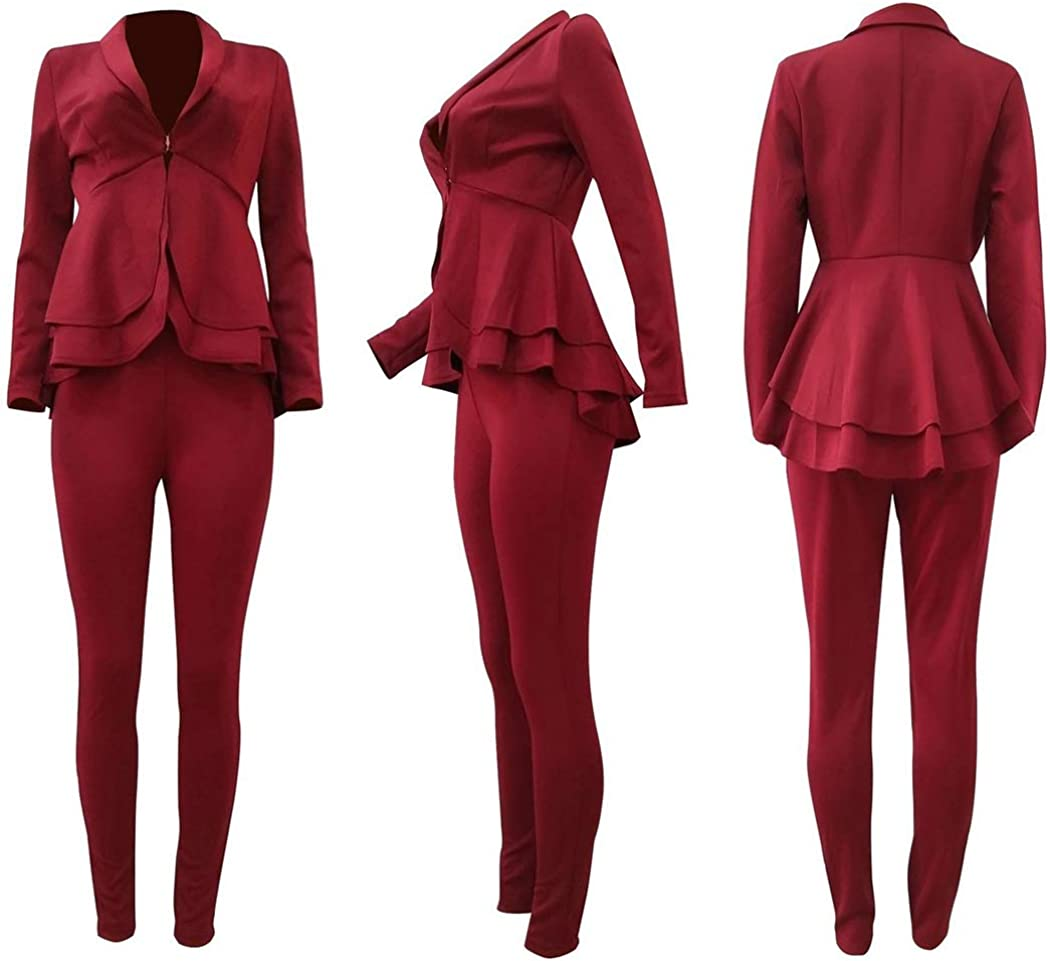 Womens Sexy Two Piece Blazer Outfits Long Sleeve Ruffle Hem Slim Fit Work Jacket with Bodycon Long Pants Suit Set