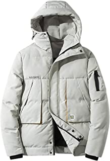 IZHH Men Lightweight Parka Coat Thick Down Jacket Winter Outwear Overcoat Hoodie