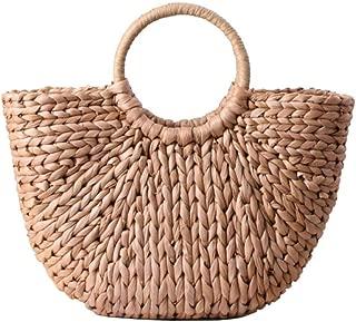 Hand-woven Straw Bag,Summer Beach Sea Casual Retro Design Straw Clutch Handbag Top-handle Rattan Bags