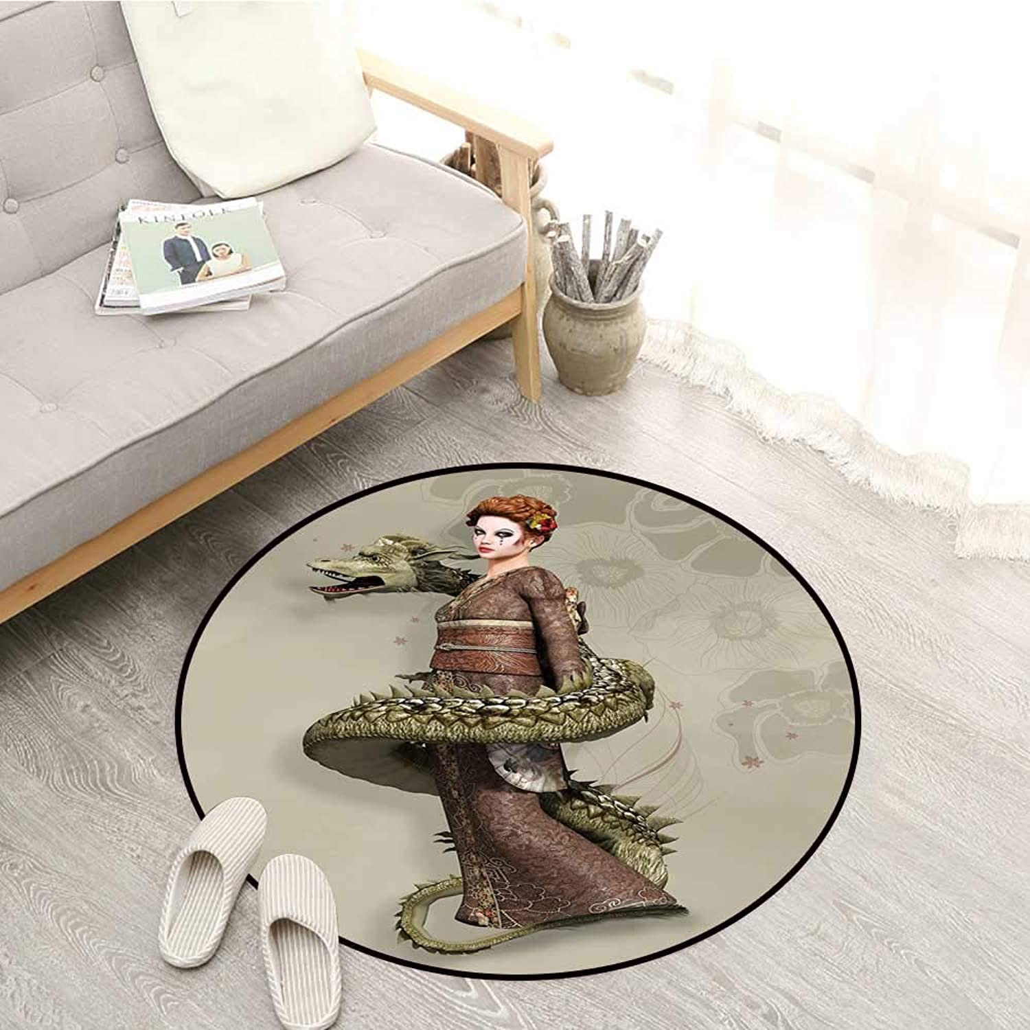 Fantasy Kids Rugs Westernly Geisha with Cry Make Up Wrapped by Spiralling Dragon Sofa Coffee Table Mat 4'11  Eggshell Olive Green Brown