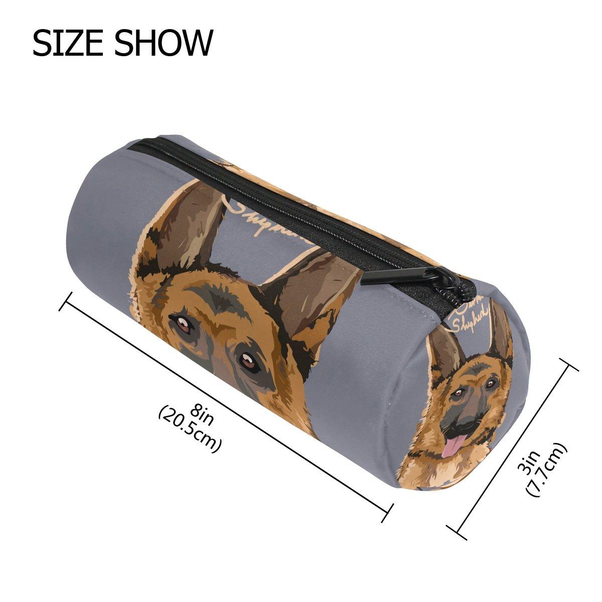 LORVIES - Estuche para lápices, diseño de pastor alemán con forma de cilindro, bolsa de papelería, bolsa de maquillaje: Amazon.es: Oficina y papelería