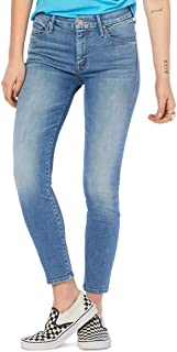 Women's Looker Crop Skinny Faded Blue Jeans, Side of Rice...