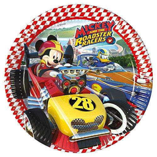 8 Teller * MICKEY ROADSTER * von Disney für Kindergeburtstag oder Motto-Party // Party Partyteller Pappteller Plates Motto Mickey Maus Mouse Autos Rennautos Rennen