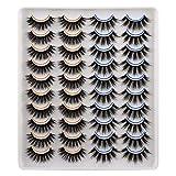 JIMIRE 20 Pairs False Eyelashes 2 Different Styles Fluffy Eyelashes Natural Volume Faux Mink Lashes Pack