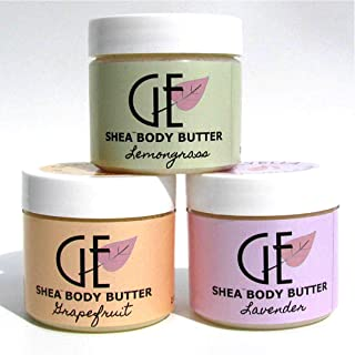 Shea Body Butter Gift Set For Women Ultra Hydrating Face and Skin Moisturizer Aromatherapy Scented in Lavender, Grapefruit, and Lemongrass 3-2oz. Jars