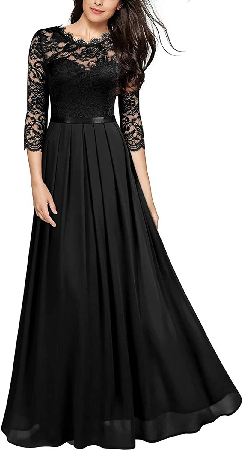 Womens Elegant Floral Dress See Through Lace Embroidery 3/4 Sleeve Bridesmaids Formal Wedding Evening Gowns