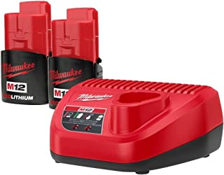 Milwaukee 48-11-2401 (2) M12 Red Lithium 1.5 12-Volt Lithium-ion Cordless Battery and (1) 48-59-2401 12Volt Lithium Battery Charger New