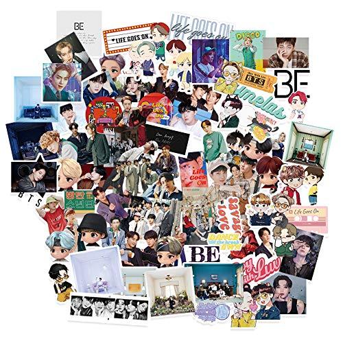 Kpop BTS Sticker BTS 76Pcs BE Sticker Pack Cartoon Waterproof Vinyl Laptop Stickers BTS Dynamite Sticker Kpop New Album BE Sticker