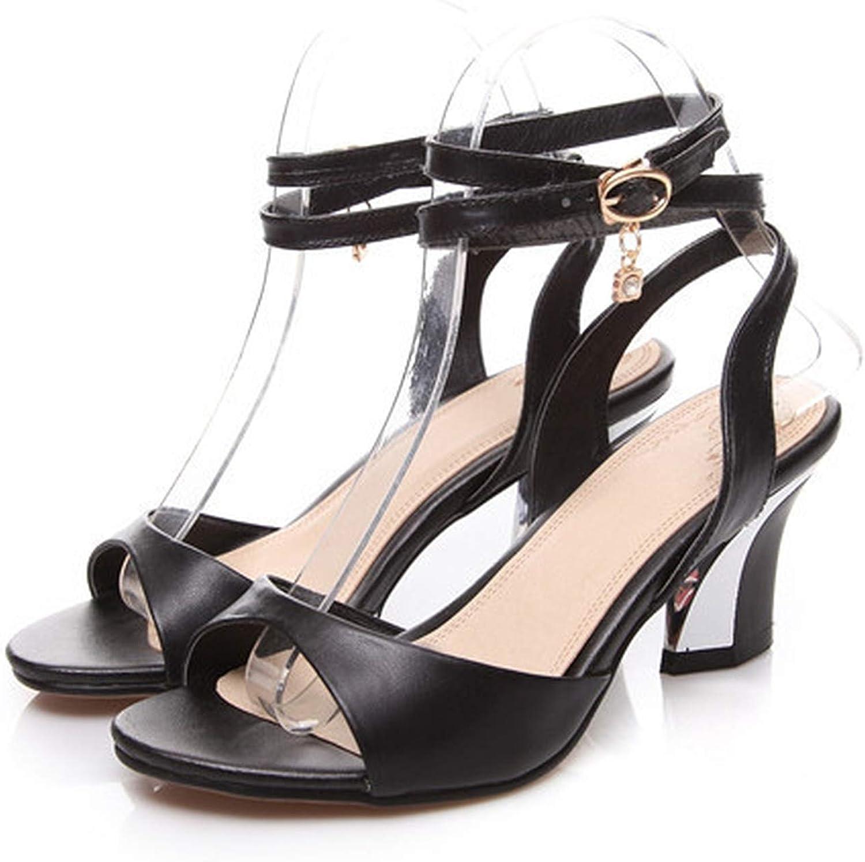 YuJi Genuine Leather Sandals Ankle Strap Sandals Peep Toe Chunky Medium Heels Rhinestone