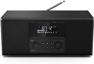 Hama DAB+ Radio mit CD Player (Bluetooth/USB/UKW/DAB Digitalradio, Radio Wecker mit 2 Alarmzeiten/Snooze/Timer, 4 Stationstasten, Stereo, beleuchtetes Display) schwarz