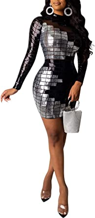 Acelitly Women's Sexy Sequin Bodycon Dress Long Sleeve Cocktail Party Evening Mini Club Dress