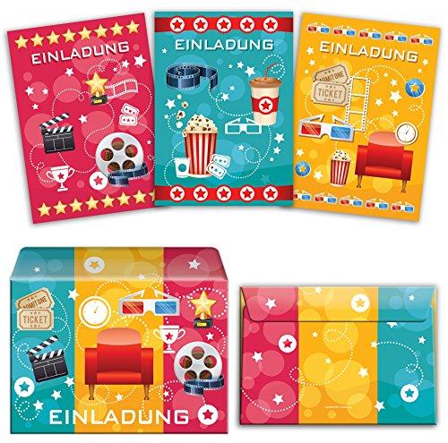 JuNa-Experten 12 Einladungskarten incl. 12 Umschläge Kindergeburtstag für Mädchen Jungen Kino-Party (4 x blau, 4 x pink, 4 x gelb) / Bunte Einladungen zum Geburtstag / Geburtstagseinladungen