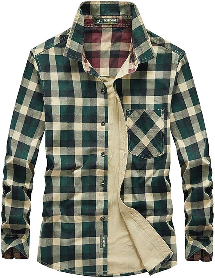 Men's Classic Plaid Button Down Shirt Cotton Regular Fit Long Sleeve Casual Shirts