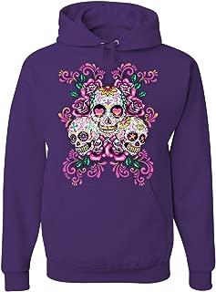 Tee Hunt 3 Sugar Skulls Hoodie Dia de Los Muertos Roses Day of The Dead Sweatshirt
