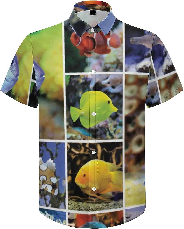 Hawaiian Shirts for Men Ocean Happy Swimming Fish Printed Beach Shirt Hawaiian Shirts