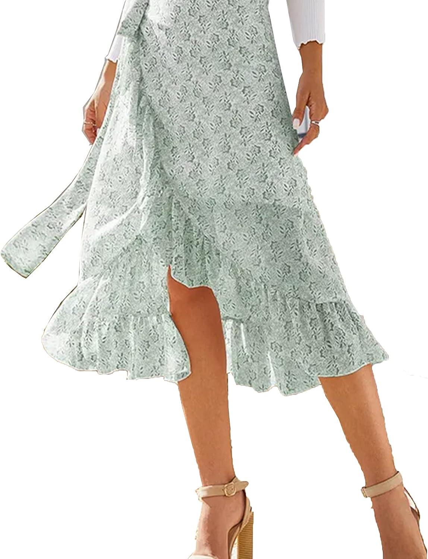 BCOFUI Women's Wrap Floral Flowy Ruffle Skirts High Waisted Slit A Line Midi Skirts