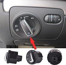Zyurong - Interruptores de control de faros de vehículo eléctrico - compatible con MK5, R32, MK5, MK6MK6Golf R, Passat B6, Passat CC, Tiguan, Eos