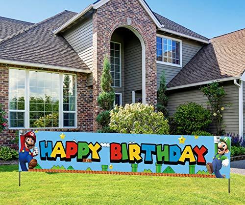 Super Inspired Mario Birthday Banner, Super Themed Mario Happy Birthday Sign, Video Game Mario Bros Party Decorations (9.8*1.6 feet)