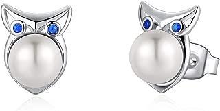 Sterling Silver Freshwater Pearl Stud Earrings Animal Earrings Tiny Small Single Pearl Fine Jewelry for Women Teen Girls