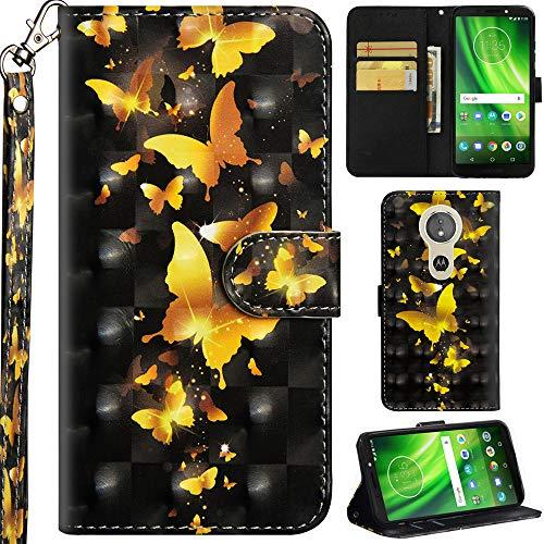 Ooboom Motorola Moto E5 Plus Hülle 3D Flip PU Leder Schutzhülle Handy Tasche Hülle Cover Ständer mit Trageschlaufe Magnetverschluss für Motorola Moto E5 Plus - Gold Schmetterling