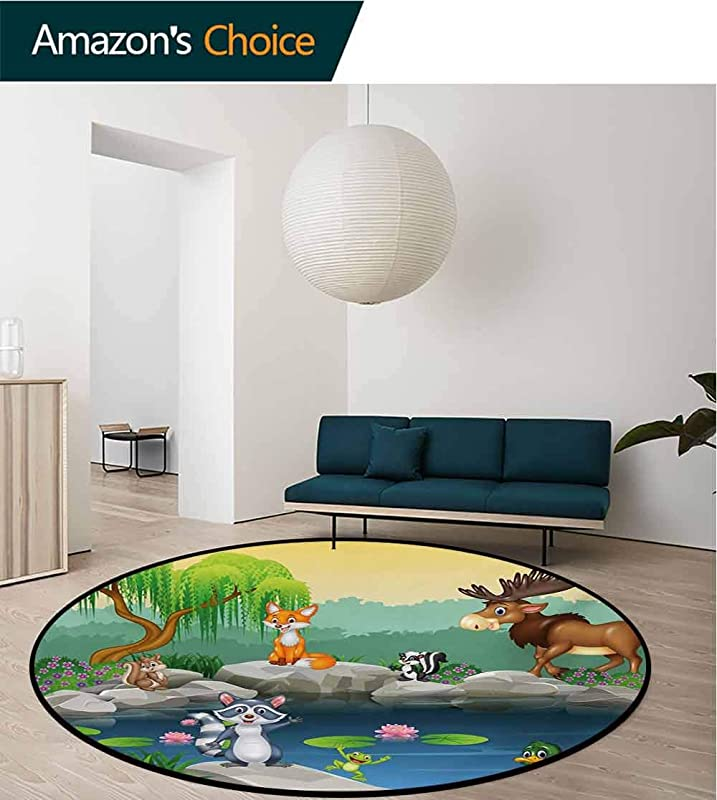 RUGSMAT Cartoon Carpet Gray Round Area Rug Funny Mascots Animals By The Lake Moose Fox Squirrel Raccoon Kids Nursery Theme Pattern Floor Seat Pad Home Decorative Indoor Diameter 35 Inch