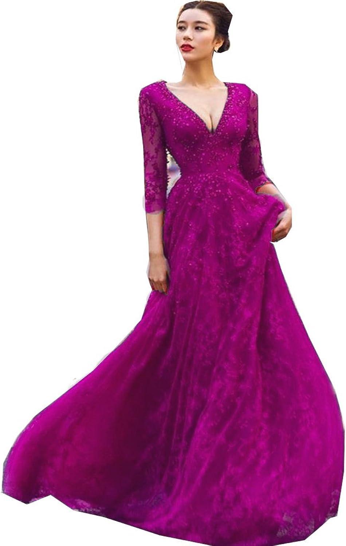 EieenDor Women V Neck Lace Evening Dresses Long Sleeve Prom Gown Long Backless,Burgundy