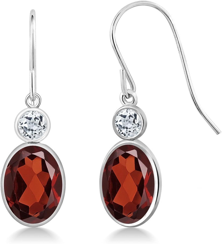 3.08 Ct Oval Red Garnet White Topaz 14K White gold Earrings