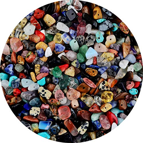 Natural Chip Stone Beads Multicolor 5-8mm About 400 Pieces Irregular Gemstones Healing Crystal Loose Rocks Bead Hole Drilled DIY for Bracelet Jewelry Making Crafting (5-8mm, Multicolor)