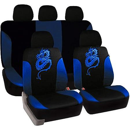 Esituro Universal Auto Schonbezug Komplettset Sitzbezüge Für Auto Mit Drache Muster Schwarz Blau Scsc0029 Auto