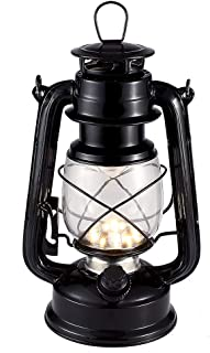 Vintage LED Hurricane Lantern, Warm White Battery Operated Lantern, Antique Metal Hanging Lantern with Dimmer Switch, 15 LEDs, 150 Lumen for Indoor or Outdoor Usage (Black)