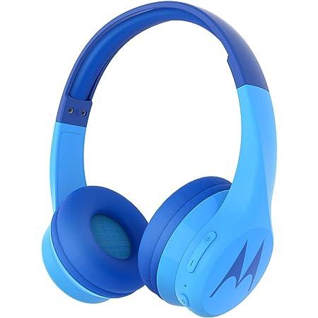 Motorola Squads 300 - Bluetooth Kinderkopfhörer - 24Std. - Begrenzter Lautstärk mit 85 dB, Flexibel und langlebig, Gehörschutz und Musik-Sharing-Funktion, Anti-Allergie-Kissen (BPA-frei) - Blau