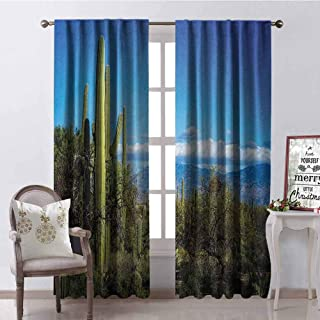 GloriaJohnson Desert Heat Insulation Curtain Wide View of The Tucson Countryside with Cacti Rural Wild Landscape Arizona Phoenix for Living Room or Bedroom W52 x L108 Inch Green Blue