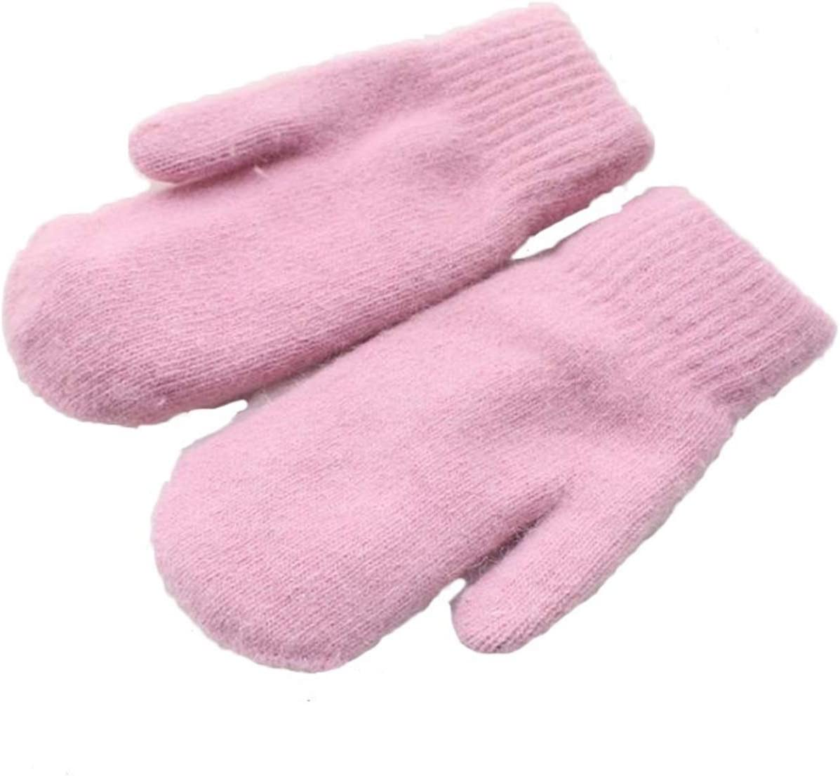 JBIVWW Women Winter Thick Knitted Double Layer Knit Warm Mittens Female Cute Full Fingers Gloves (Color : Light Gray, Gloves Size : 10x21cm)
