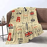 DUISE All Seasons 60' x 80' Soft Plush Cozy Throw Blanket Retro Style UK London Theme with Inscriptions British Symbols Landmarks and Flag Throw Blanket for Bed Sofa Bedspread