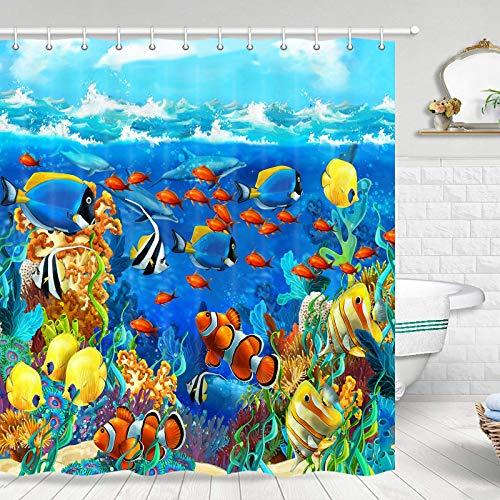 JAWO Duschvorhang mit tropischen Fischen, blauer Ozean, tropische Fische, Koralle, Unterwasser-Duschvorhang für Badezimmer, Ozean, Duschvorhang-Set mit Haken, 177,8 cm