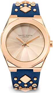 DAISY DIXON LONDON Alessandra Women's Analogue Quartz Watch with Rose Gold Sunray Dial and Navy Leather Strap - D110URG