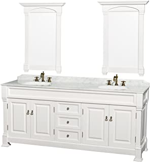 Wyndham Collection Andover 80 inch Double Bathroom Vanity in White with White Carrara Marble Countertop, Undermount Oval Sinks, and 28 inch Mirrors - coolthings.us