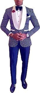 Pretygirl Men's Polka Dots Groomsmen Shawl Lapel Suit/Bridegroom/Wedding/Prom Suits (Suit+Pants)