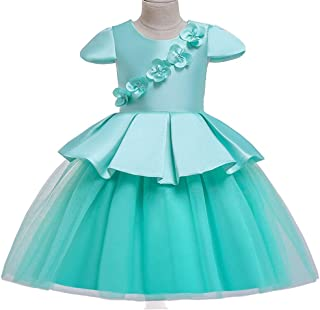 YGCLOTHES Vestido De Flores para Niñas, Vestido para Niños Malla De Satén Costura De Gasa Vestido De Novia De Color Prince...