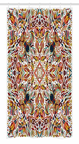 Ambesonne Batik Stall Duschvorhang, Blumenmuster persische Linien, orientalischer Blumenstrauß inspiriert, böhmischer Druck, Stoff Badezimmerdekor-Set mit Haken, 91,4 x 182,9 cm, Mehrfarbig